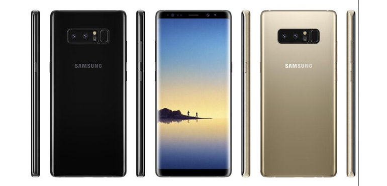 Samsung Galaxy Note 8 front and sides hero image