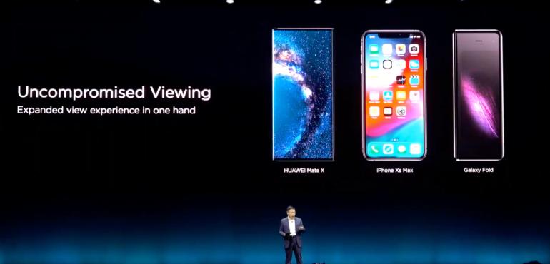 Huawei Mate X no notch comparison launch shot hero size