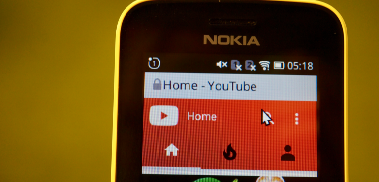 Nokia 8110 YouTube curser closeup hero size