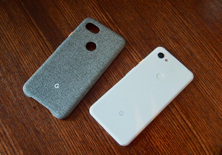 Google Pixel 3a white next to case