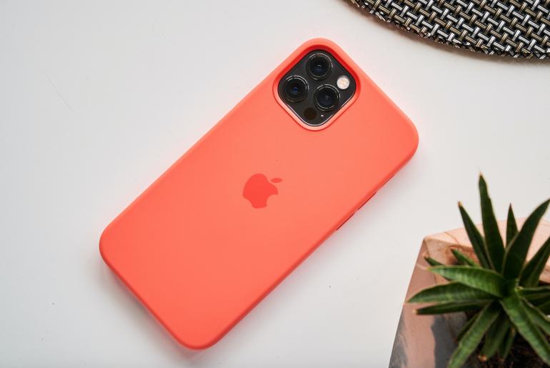 iPhone 12 Pro in orange case