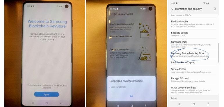 Samsung Galaxy S10 leak Blockchain Keystore