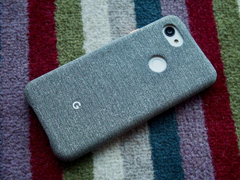 Google Pixel 3a XL case on carpet