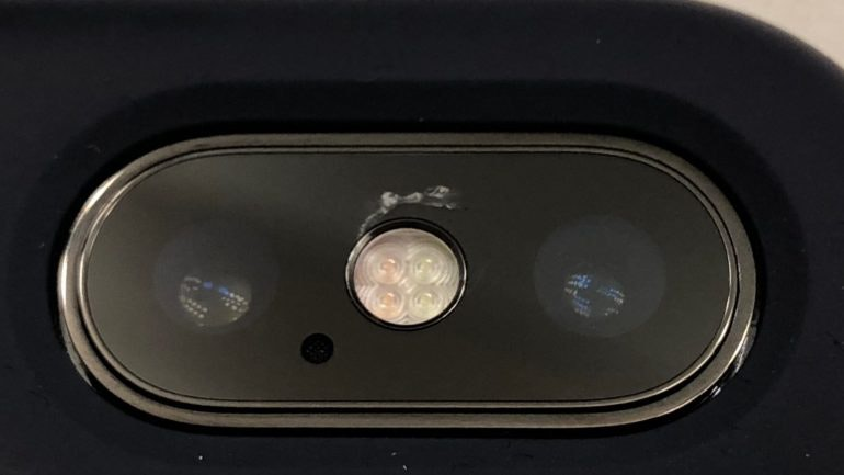 iPhone X camera cracked screen