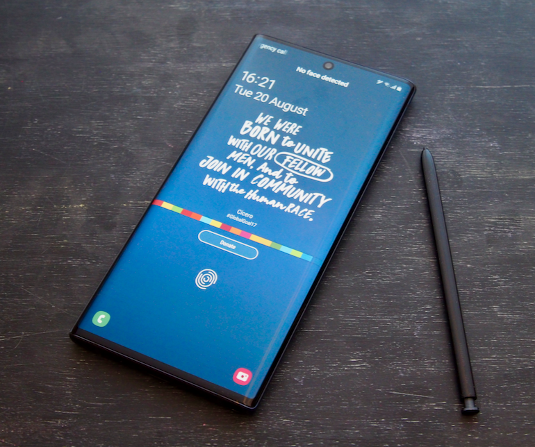 Note 10 screen blue