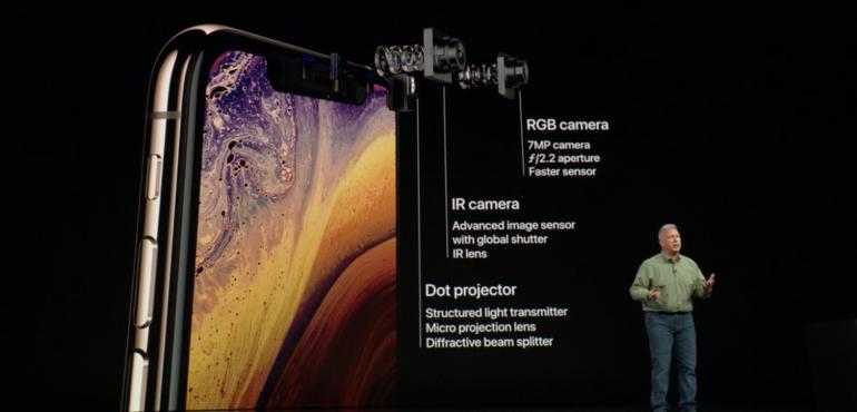 iPhone XS Max dual lens selfie camera specs hero size