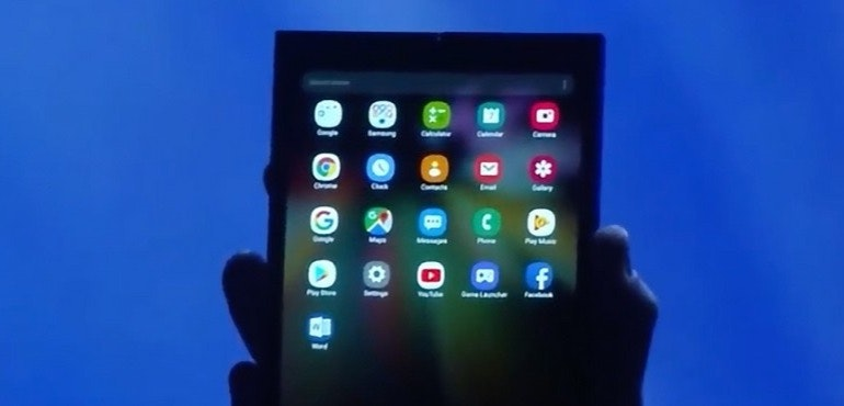 Samsung Galaxy F foldable phone unfolded hero size