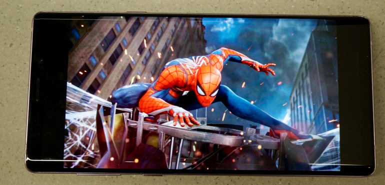 Samsung Galaxy Note 9 screen Spiderman hero size