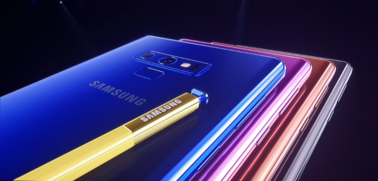 Samsung Galaxy Note 9 colourways and S Pen stylus hero