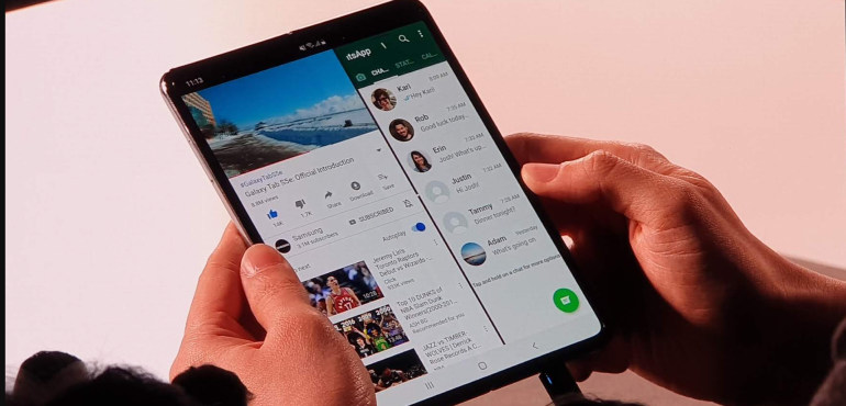 Samsung Galaxy Fold unfolded three apps at once launch hero size