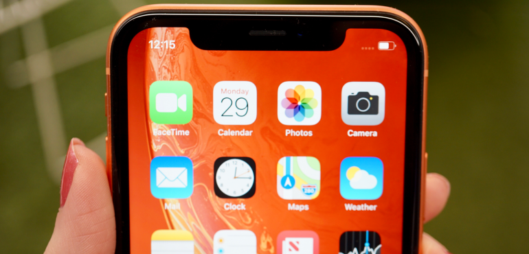 iPhone XR app tray notch closeup hero size