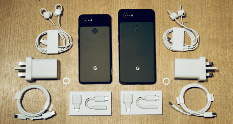 Pixel 3 and 3XL unboxed with wires