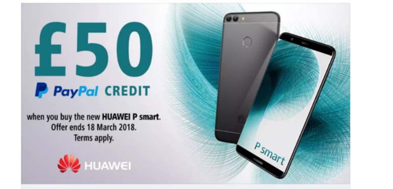 How to claim £50 PayPal credit when you buy a Huawei P smart
