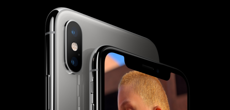 iPhone XS silver camera detail front and back