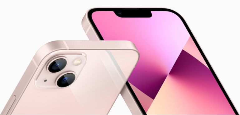 iPhone 13 pink hero image front and back