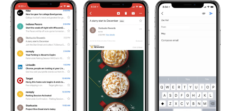 iPhone X gmail update hero