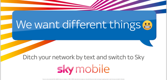 Text to switch with Sky Mobile