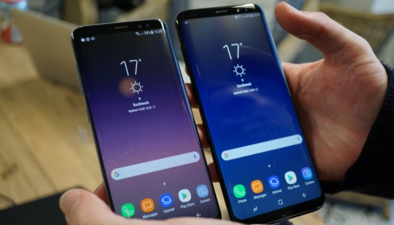 Samsung Galaxy S8 and S8 Plus in-hand shot