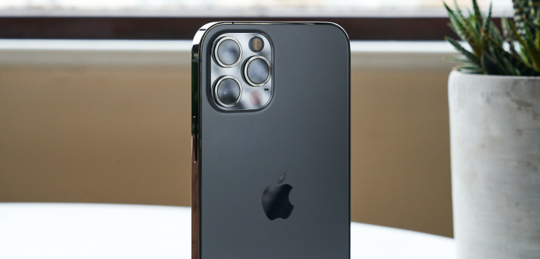 iPhone 12 Pro steel silver camera closeup hero image
