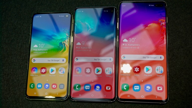 Samsung Galaxy S10e, S10 and S10 Plus homescreens comparison
