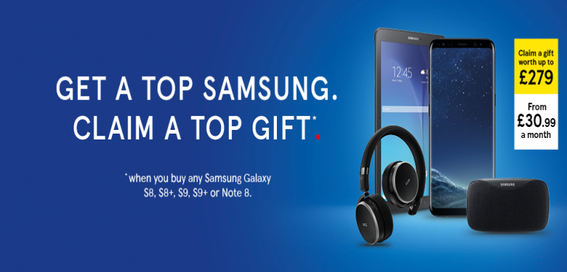 Get free gifts with Samsung Galaxy S8 and S9 on Tesco Mobile