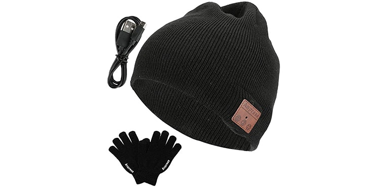 Touchscreen gloves and speaker hat