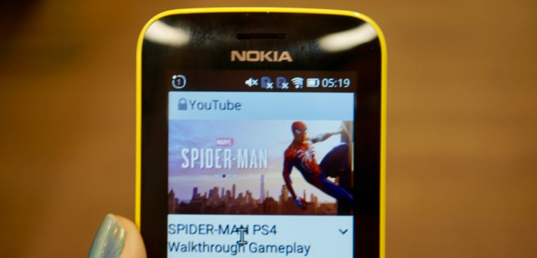 Nokia 8110 YouTube Spiderman video hero size