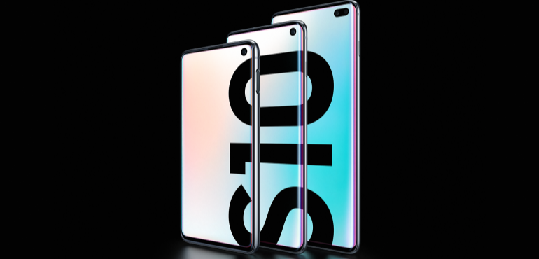 Samsung Galaxy S10e, S10 and S10 Plus pack shot hero size