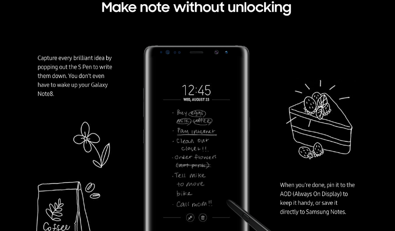 Samsung Galaxy Note 8 S Pen offscreen