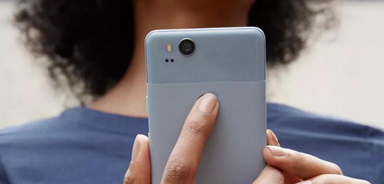 Google Pixel 2 hero size back of phone fingerprint scanner