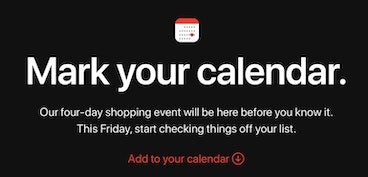 Apple confirms Black Friday 'shopping event'