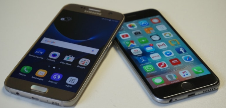 Samsung Galaxy S7 vs iPhone 6S head to head hero