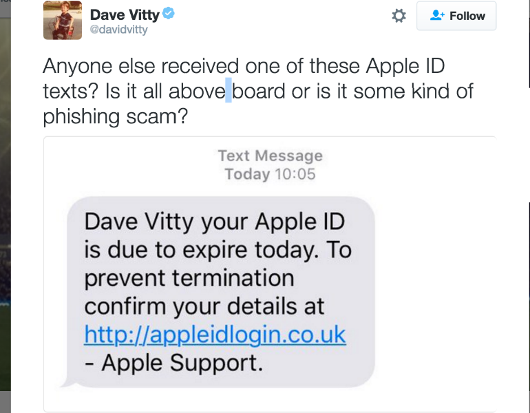 Apple text scam