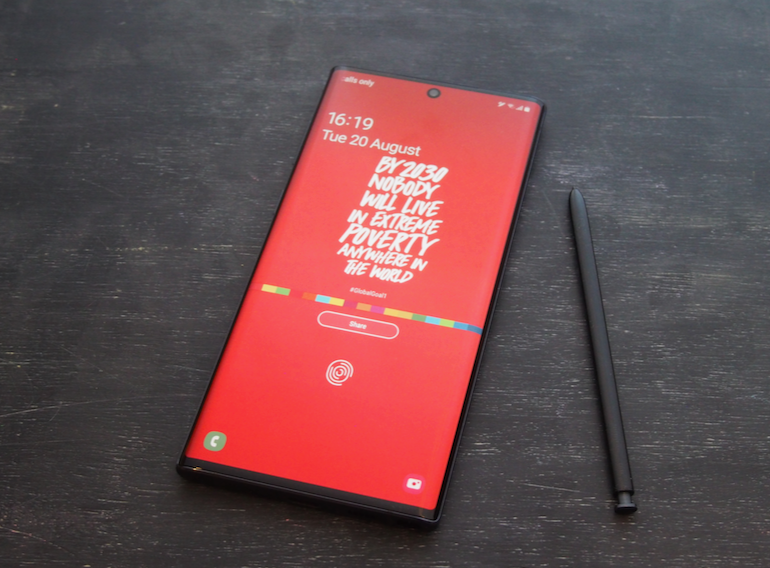 Note 10 screen red