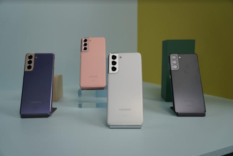 Samsung Galaxy S21 range pink and purple