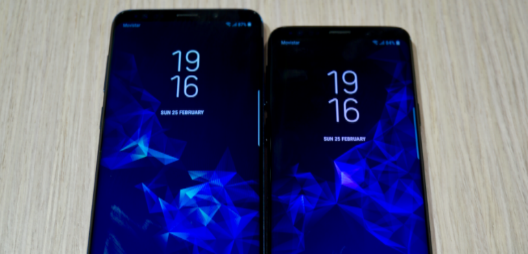 Samsung Galaxy S9 and S9 Plus side by side screens hero size