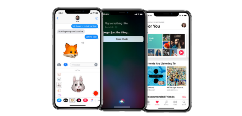 iPhone X three screens animoji hero image
