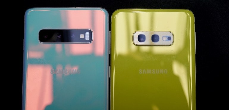 Samsung Galaxy S10 and S10e prism white and canary yellow backs camera lens closeup hero size