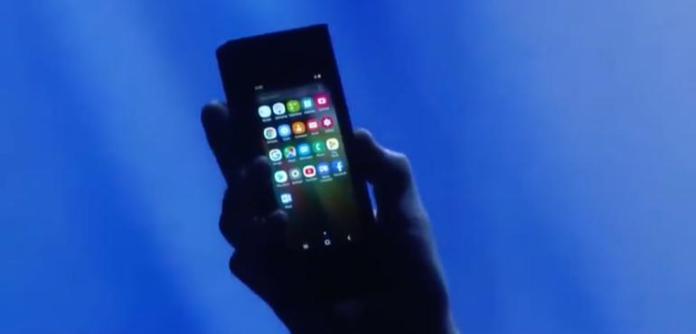 Samsung foldable phone folded hero size