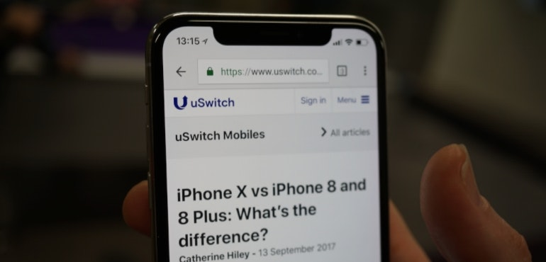 iPhone X web browsing notch screen hero size