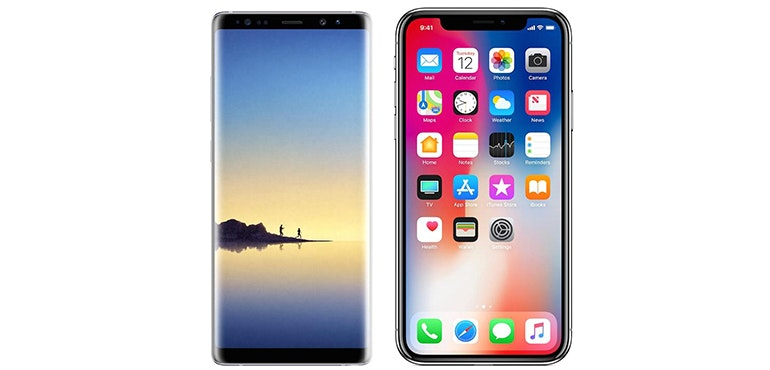 iPhone X and Samsung Galaxy Note 8 hero image