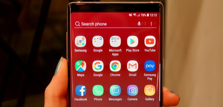 Samsung Galaxy Note 9 app tray hero size