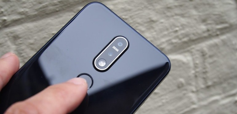 Nokia 7.1 black back fingerprint scanner hero size