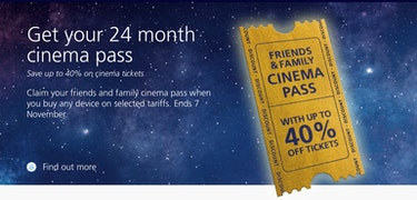 O2's Popcorn Pass gives you 40% off cinema tickets