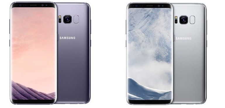 Samsung Galaxy S8 silver and grey colours hero
