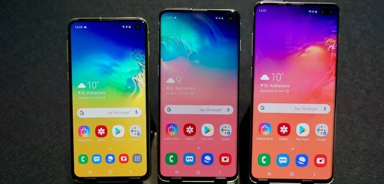 Samsung Galaxy S10e, S10 and S10 Plus homescreens hero size