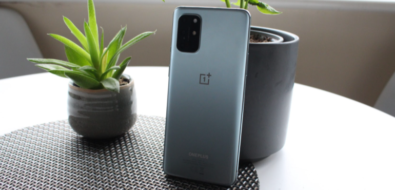 OnePlus 8T silver stood up back