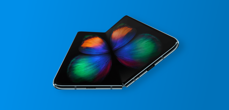 Samsung Galaxy Fold Hero blue background