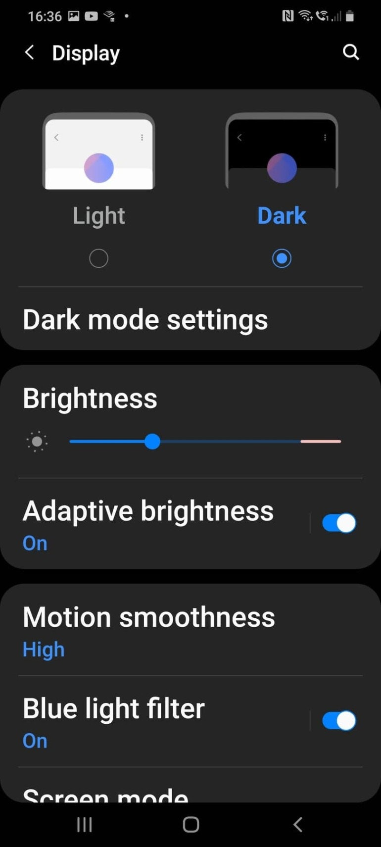 Phone on Dark Mode screenshot