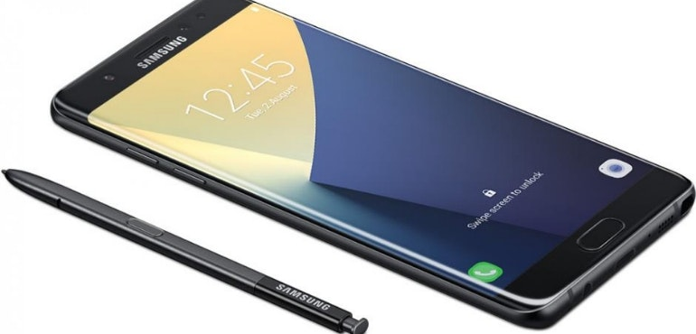 Samsung Galaxy Note 8 with S pen stylus white background hero image